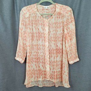 Sheer Oversized Coral Peach Button-Front Blouse